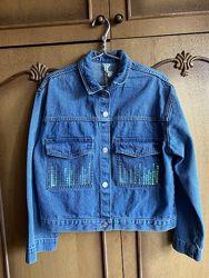 Джинсовый пиджак O&acutestin с пайетками модного кроя