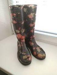 Резиновые сапоги с цветочным принтом 38 размер