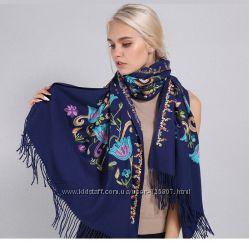 Теплый палантин кашемировый с вышивкой бохо, нарядный женский шарф