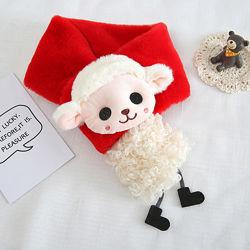 Детский шарф плюшевый с игрушкой песик, овечка или зайчик, мягкий и теплый