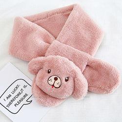Детский шарф плюшевый с игрушкой песик, овечка, мышка мягкий и теплый