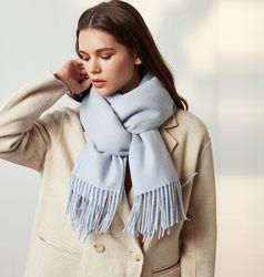 Женский шарф кашемировый теплый стильный палантин с бахромою купить в Киеве