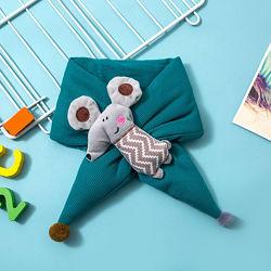Детский шарф трикотажный, меховый шарф с мышкой, игрушкой крысенок