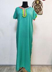 Мусульманское платье длинное марокканское макси туника с вышивкой летнее