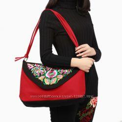 Красивые сумки бохо из плотной ткани с вышивкой купить в магазине Киева