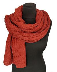 Вязаные шарфы женские косичкой с помпонами из шерсти и кашемира - КИЕВ