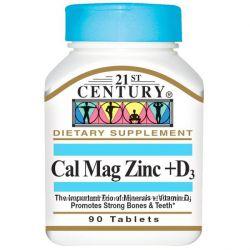 Кальций, магний, цинк, витамин Д3, 21st Century, Iherb