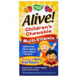 Nature&acutes Way, Alive Детские жевательные мультивитамины со вкусом апель