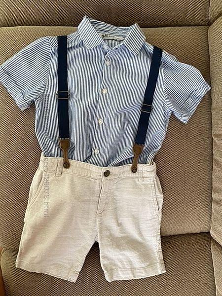 Шорты на подтяжках с рубашкой, HM, 3-4 года