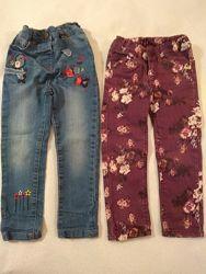 Джинсы с вышивкой, принтом, утеплённые на 3-4 года Logg, George, Mothercare