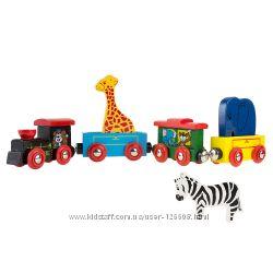 HeyPlay Деревянный магнитный поезд с животными, в наличии