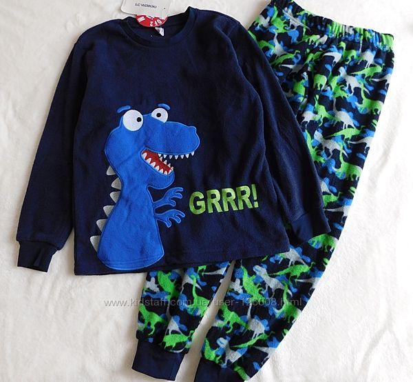 8-9л. Пижама флисовая Динозавр мальчику LC Waikik
