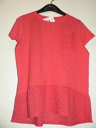 Элегантная легкая блуза Matalan c кружевом красная, , на 11 лет