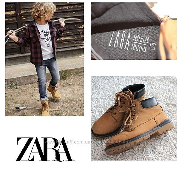 Рыжие ботинки Zara нубук размер 32 21 см по стельке