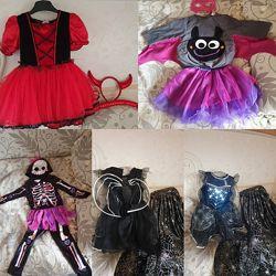 Хеллоуин Halloween костюмчик ведьма, скелет летучая мышь чертенок
