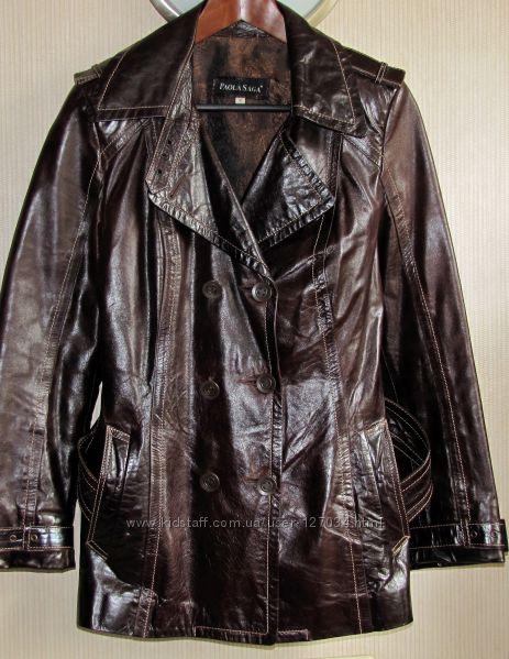 Замечательная кожаная лаковая куртка, M-L