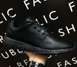 a2d54c49a Кроссовки натуральная кожа Nike Roshe Run Oreo мужские черные Вьетнам SALE