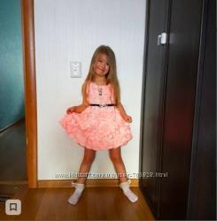 Оригинальные персик, малиновое платье-сарафан в розах 3Д