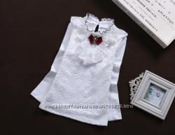 Шикарная белая блузка гольф реглан с кружевом и красным бантиком р. 120-160