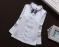 Шикарная белая блузка гольф реглан с кружевом с синим бантиком р. 120 -160
