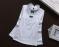 В наличии Белая блузка хлопок с кружевом, жемчугом и двумя синими бантиками
