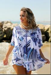 Распродажа бело-синяя туника из хлопкас золотой вышивкой AnastaSea