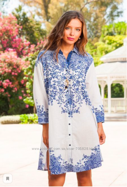 Белая с синим  туника рубашка с вышивкой Индиано код 1276