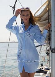 Пляжная полосатая длинная туника рубашка на пуговицах с вышивкой Индиано