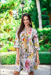 Новинки Роскошная летняя яркая платье-туника с золотом  Индиано код 2186