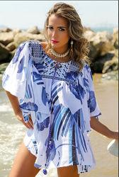 Трендового цвета туника блуза из хлопка с вышивкой золотом и серебром anast