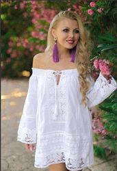Распродажа Белоснежная стильная рубашка-туника с кружевом Fresh cotton