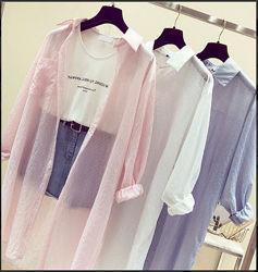 Шифоновая в полоску туника-рубашка оверсайз, розовая серая белая