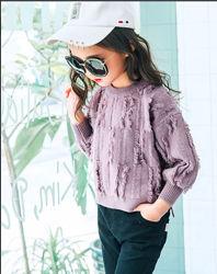 Стиль бохо модный теплый свитерок кофта на девочку с бахромой р.122-134, к
