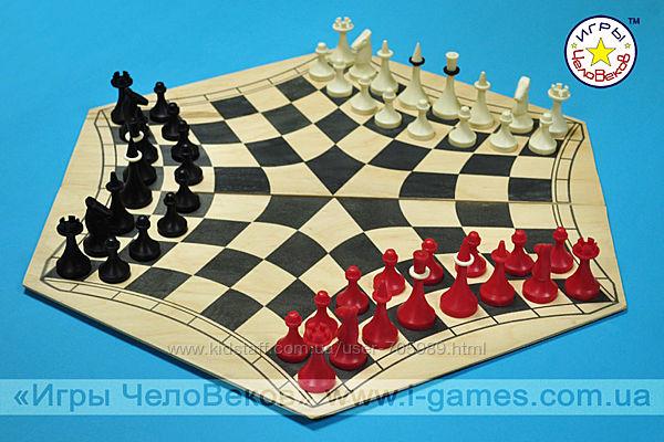 Русские шахматы - шахматы на троих - доска картон