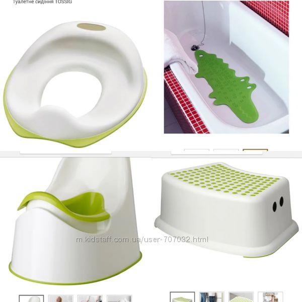 Набор 4шт подиум, насадка на унитаз, горшок и коврик для ванной IKEA