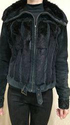 Натуральная замшевая куртка с кроликом размер s