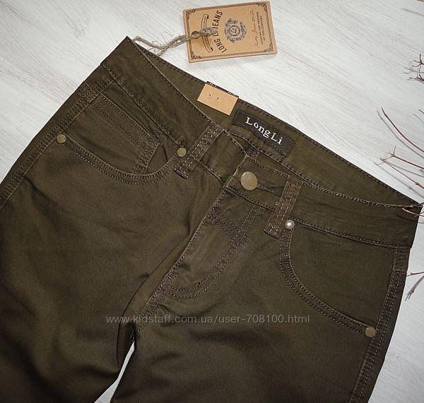 Новые джинсы, качество, 29, 30, 31 размеры, оливкового цвета