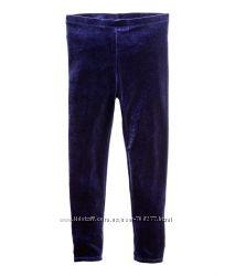 Нарядные велюровые леггинсы H&M на девочку, размер 116 см.