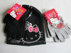 Шапка и перчатки Hello Kitty весна 4-6 лет