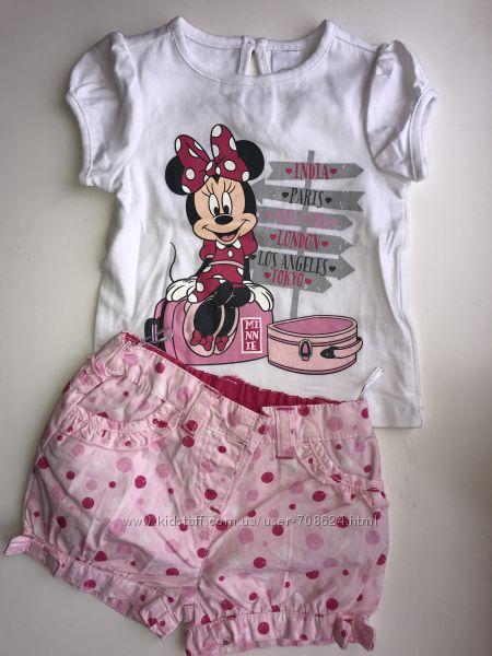 Летный комплект футболка и шортики на девочку рост 62, 68 C&A Германия