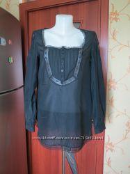Блуза оверсайз черная с кружевом naf naf подарок