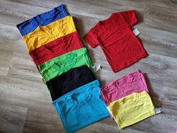 Детская однотонная футболка 1-8 лет