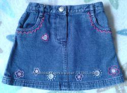 Юбка джинсовая Next девочке р92см некст юбочка с вышивкой