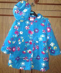 Пальто нарядное вельвет с беретом для девочки 4 года Америка легкое