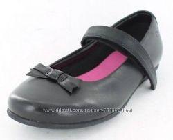 Туфли кожаные 27р Clarks стелька 18см черные школьные на широкую ножку