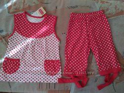 Красный комплект двойняшкам на 4-5 лет девочке хлопок трикотаж