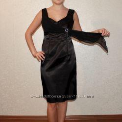 Вечернее атласное платье  болеро. размер 40-42