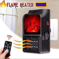Портативный обогреватель Flame Heater 1000W с имитацией камина на пульту