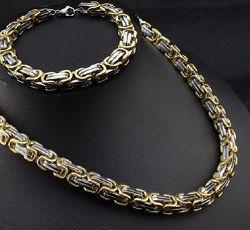 Браслет и цепочка Steel Rage сталь византийское плетение комплект