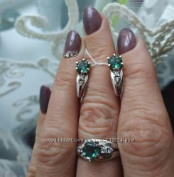 Новый фабричный серебряный комплект серьги и кольцо с натуральным кварцем